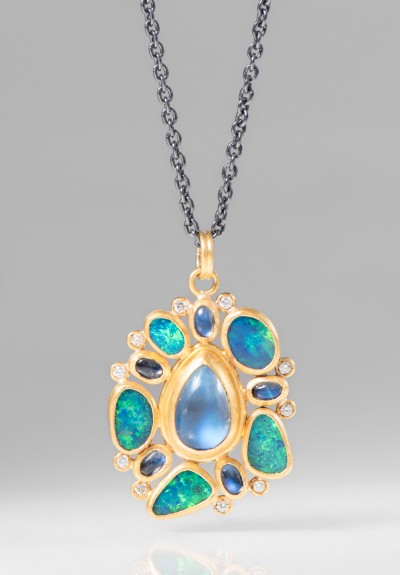 Lika Behar 24K, Diamond, Moonstone, Opal Ocean Necklace