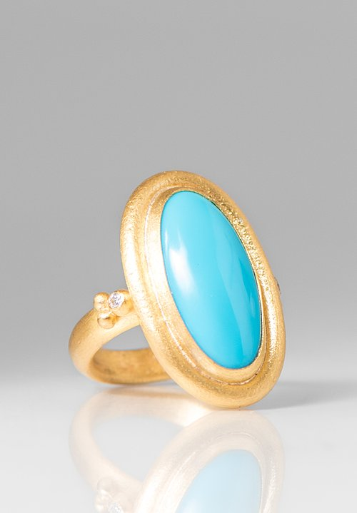 Lika Behar 24k, Diamond, Sleeping Beauty Turquoise Didyma Ring