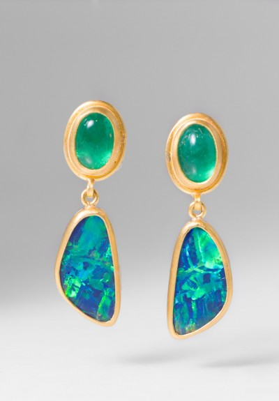 Lika Behar 24K Gold, Emerald, Opal Ocean Earrings