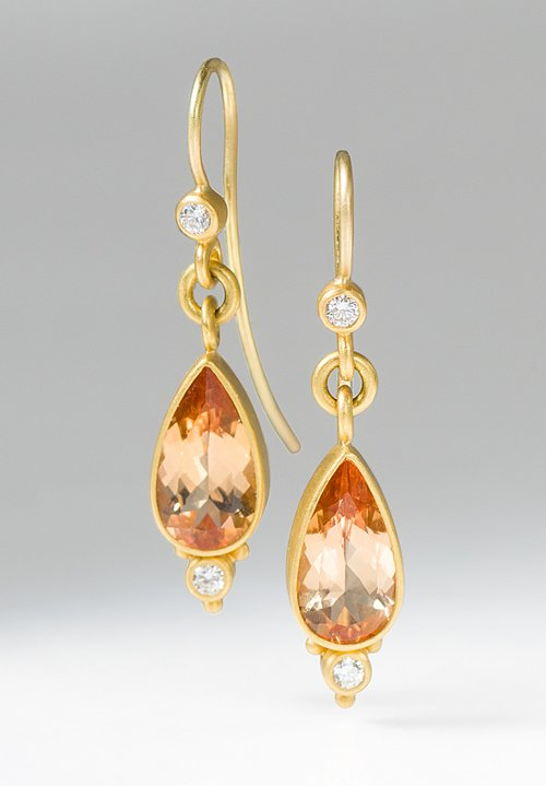 Denise Betesh 22K, Diamond, Imperial Topaz Earrings