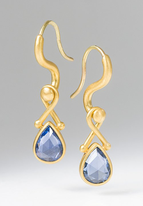 Denise Betesh 22K, Teardrop Sapphire Earrings