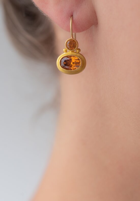Denise Betesh 22K, Hessonite Garnet, Zircon Earrings