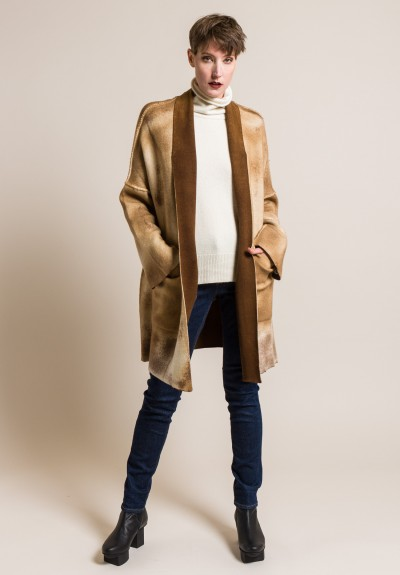 Avant Toi Cashmere and Virgin Wool Oversized Cardigan in Caramel
