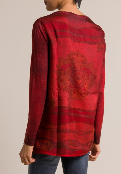 Avant Toi Printed Silk Back Crewneck Sweater in Smalto