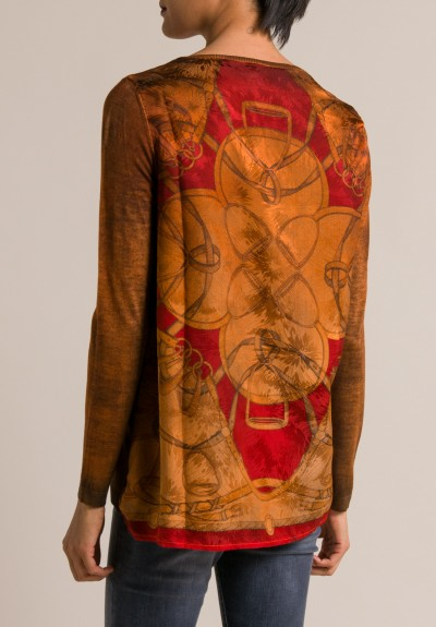 Avant Toi Printed Silk Back Crewneck Sweater in Equator