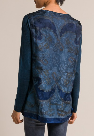 Avant Toi Printed Silk Back Crewneck Sweater in Velvet