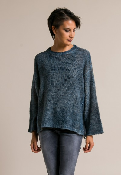 Avant Toi Reversible Oversized Sweater in Blue Brown