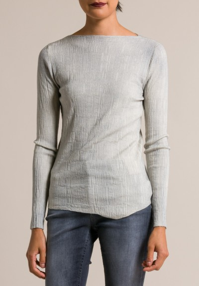 Avant Toi Stretch Cashmere/Silk Textured Top in Gesso
