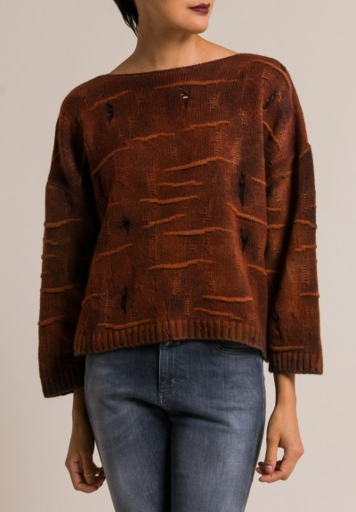 Avant Toi Distressed Boxy Sweater in Equator
