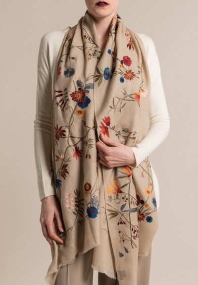 Janavi Cashmere Floral Embroidered Scarf Light Natural