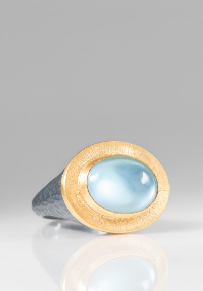 Lika Behar 24K, Oxid. Silver, Topaz and Mother of Pearl Doublet Pompeii Ring