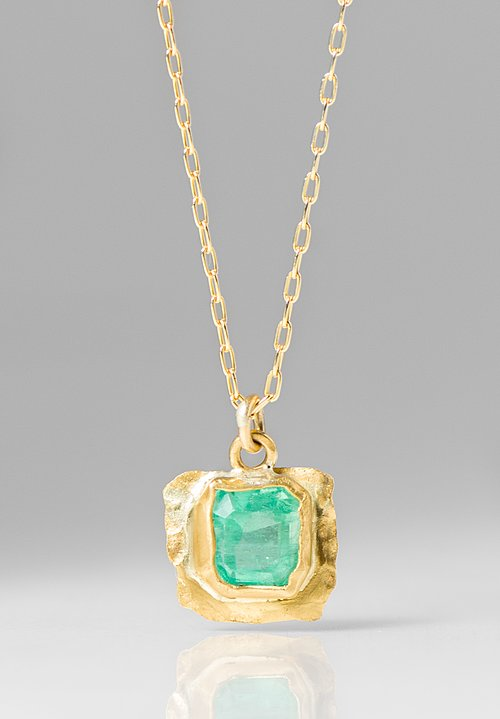 Margery Hirschey 22K, 18K Emerald Pendant Necklace
