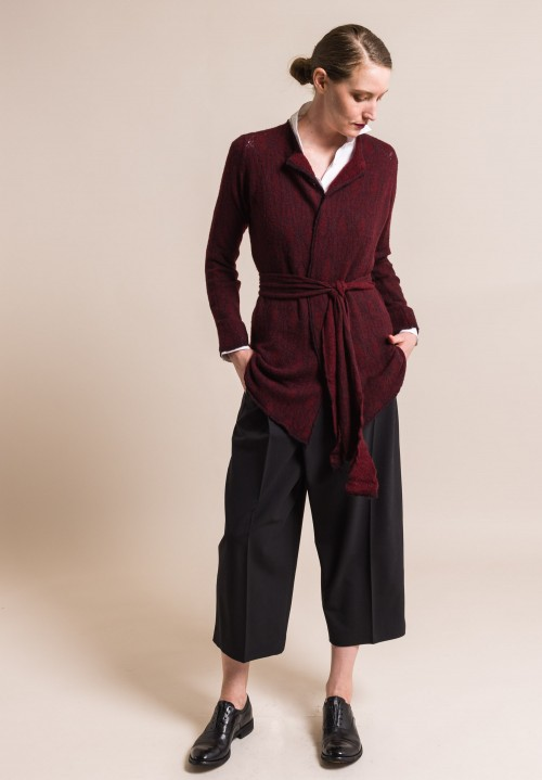 Lainey Cashmere Belted Illusion Cardigan in Burgundy