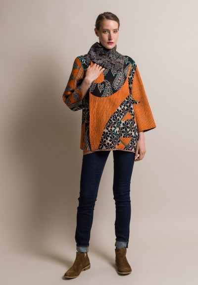 Mieko Mintz 5 Layer Vintage Cotton Flare Jacket In Orange