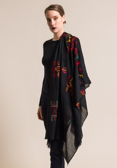 Faliero Sarti Embroidered Cancun Scarf in Black