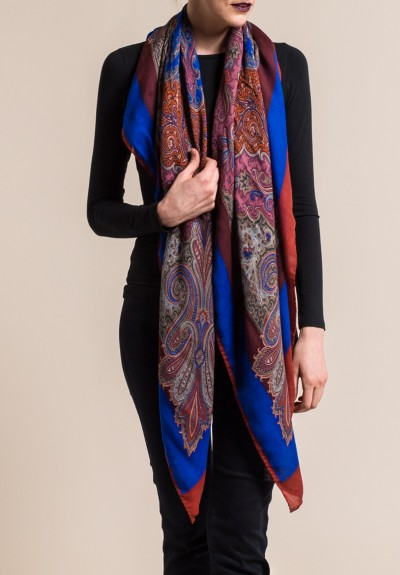 Etro Wool/Silk Paisley Scarf in Blue/Rust
