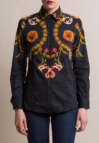 Etro Floral & Paisley Tailored Cotton Shirt in Black