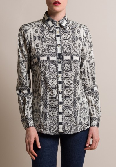 Etro Intricate Paisley Print Tailored Cotton Shirt in Black/White