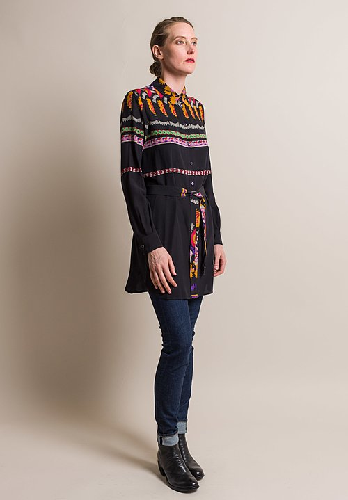 Etro Printed Silk Belted Ipomea Blouse in Black