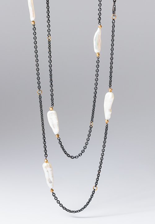 Lika Behar 22K, Oxid. Silver, Large Keshi Pearls Katya Peach Glow Necklace
