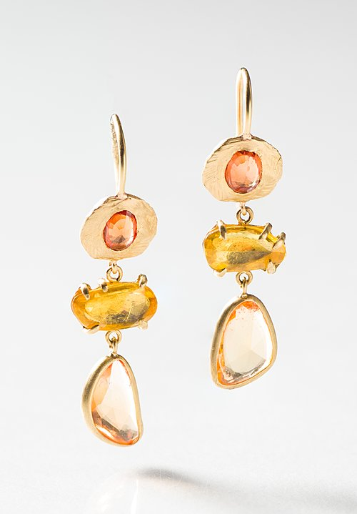 Page Sargisson 18K, 3 Drop Yellow Sapphire Earrings