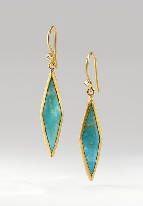 Lika Behar 24K Gold, Diamond Kingman Turquoise Kite Earrings