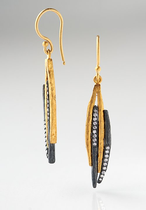 Lika Behar 24K, Oxid. Silver, Diamonds Zebra Earrings