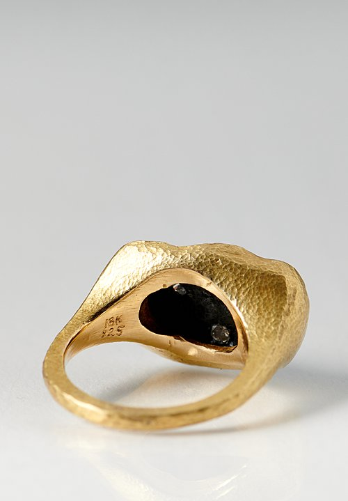 18K Gold, Oxidized Silver, Inverted Pave Diamond Ring