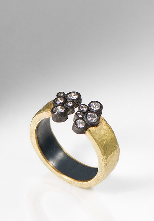 Tap by Todd Pownell 18K, Oxidized Silver, Diamond Open Hammered Band Ring