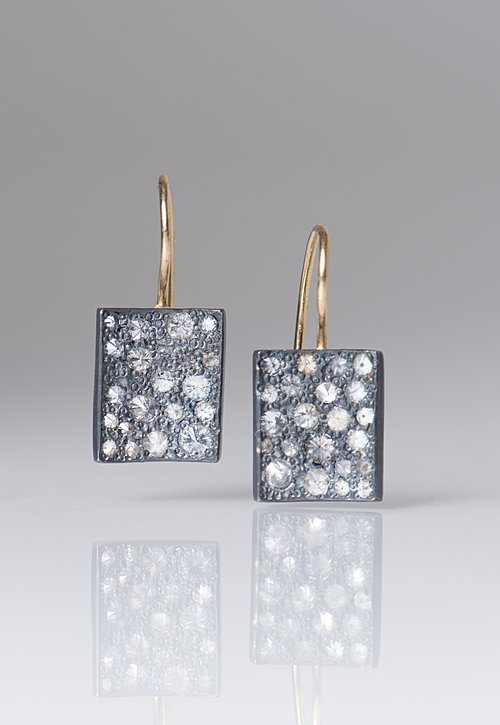 Tap by Todd Pownell 18k, Ox. Silver, Diamond Rectangle Earrings