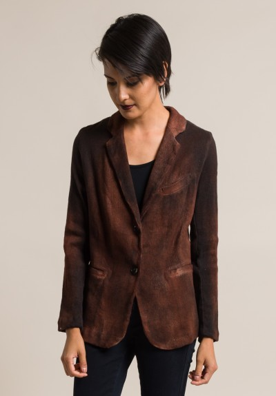 Avant Toi Cotton/Linen Hand Painted Ombre Jacket in Cocoa