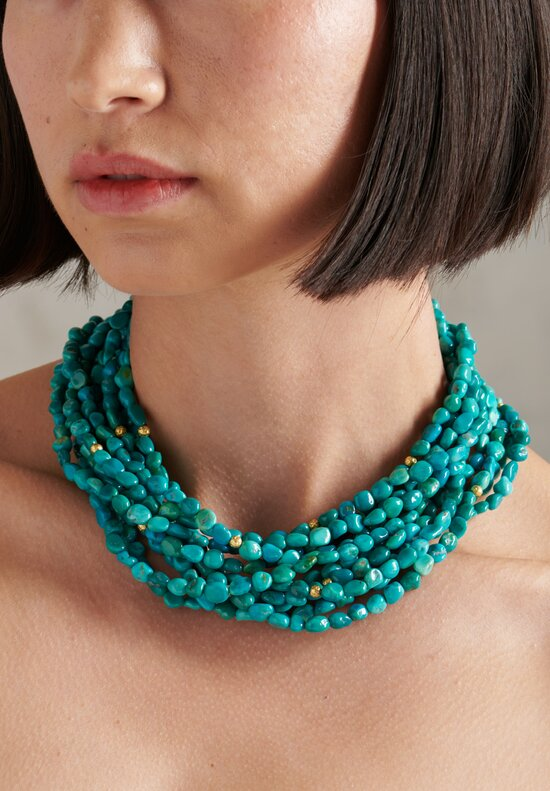 Greig Porter 18K, Sleeping Beauty Turquoise Long 5 Strand Necklace