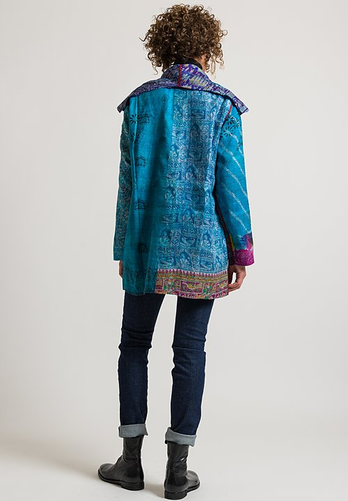 Mieko Mintz Silk 2-Layer Pocket Jacket in Turquoise/ Purple