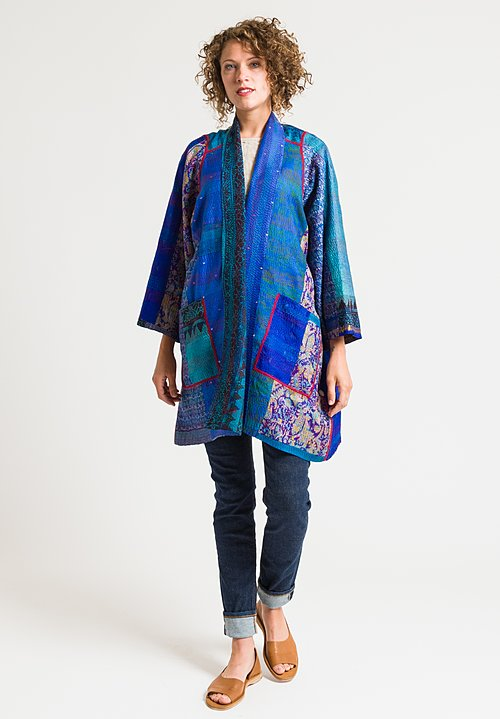 Mieko Mintz 2-Layer A-Line Jacket in Turquoise/ Purple