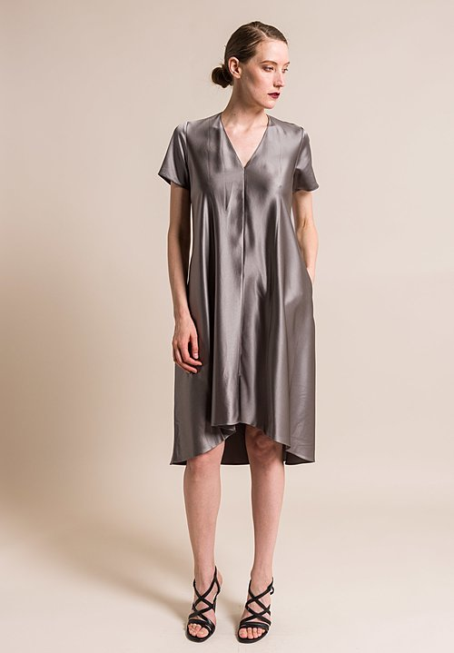Peter Cohen Silk Byrd Dress in Pewter