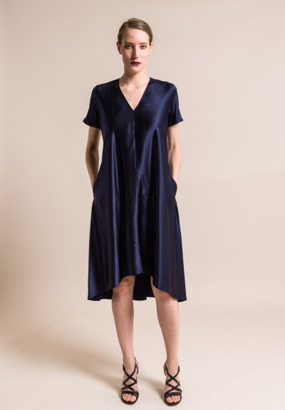 Peter Cohen Silk Byrd Dress in Navy