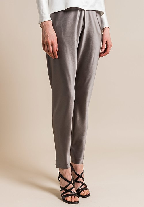 Peter Cohen Silk Narrow Pants in Pewter