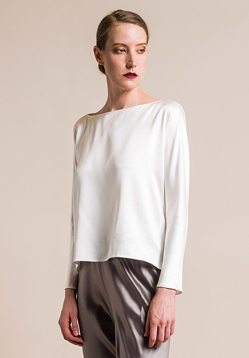 Peter Cohen Sand-Washed Silk Balance Top in Natural