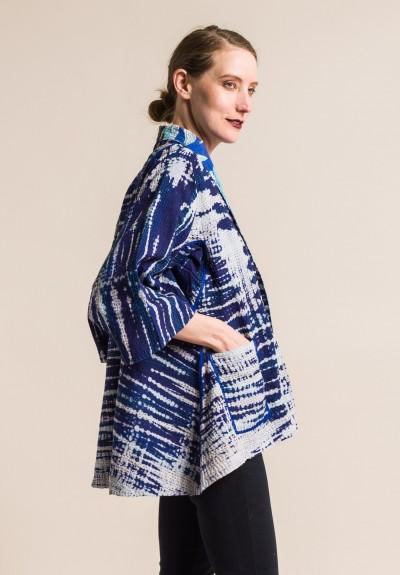 Mieko Mintz 2 Layer Indigo Stream Shibori Kimono Jacket