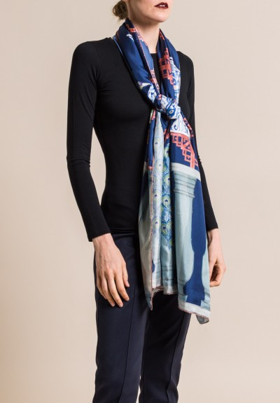 Roi Du Lac Silk Printed Scarf Peacock in Navy