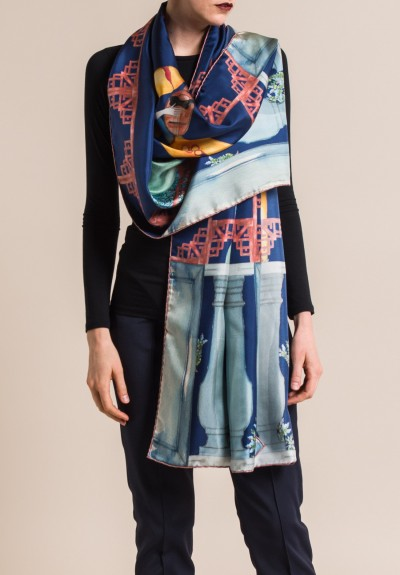 Roi Du Lac Silk Printed Scarf Musician in Navy