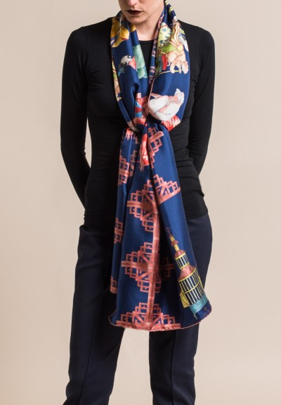Roi Du Lac Silk Printed Scarf Flamingo in Navy