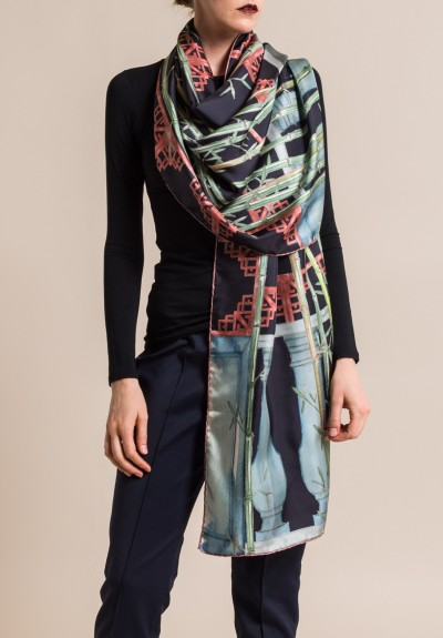 Roi Du Lac Silk Printed Scarf Bamboo in Black