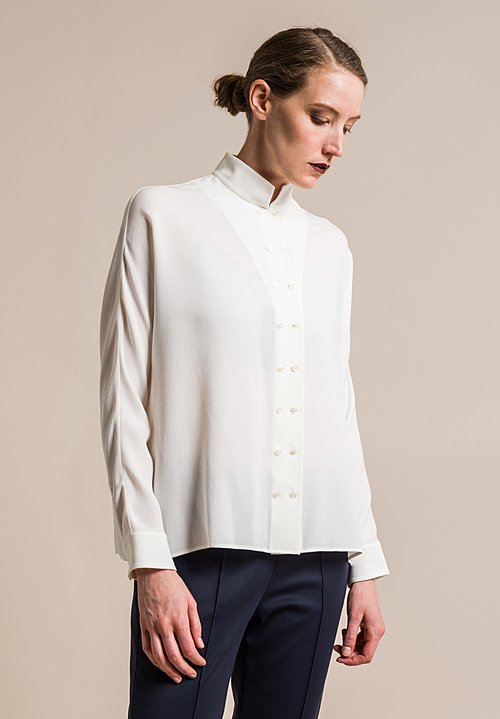 Akris Silk Long Sleeve Blouse in Crema