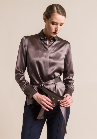 Akris Silk Tie Neck Blouse in Sepia