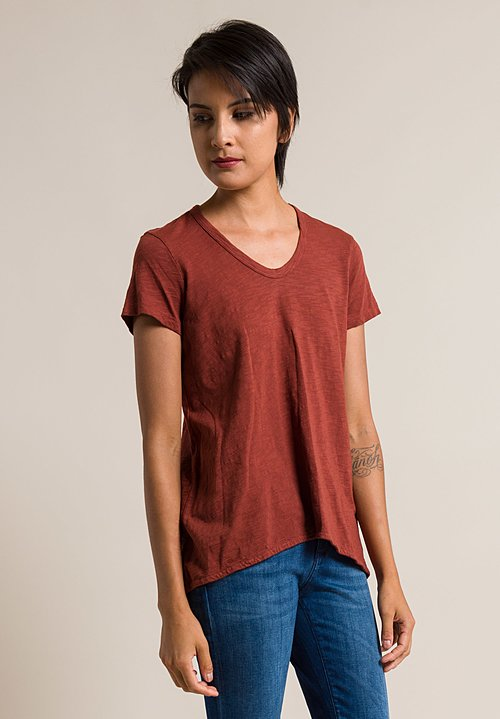 Wilt Scoop Neck Shrunken Boyfriend Tee in Pepper