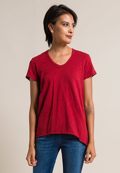 Wilt Scoop Neck Shrunken Boyfriend Tee in Sangria