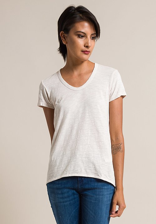 Wilt Scoop Neck Shrunken Boyfriend Tee in Light Peach