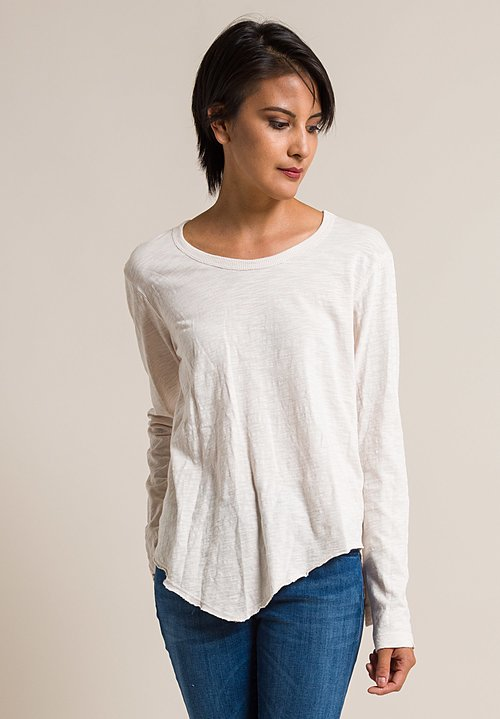 Wilt Long Sleeve Shrunken Pointed Hem Tee in Light Peach