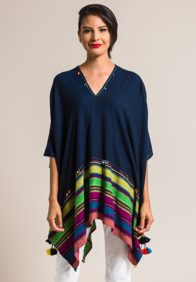 Pero Striped Wool and Tassel Poncho in Multicolor